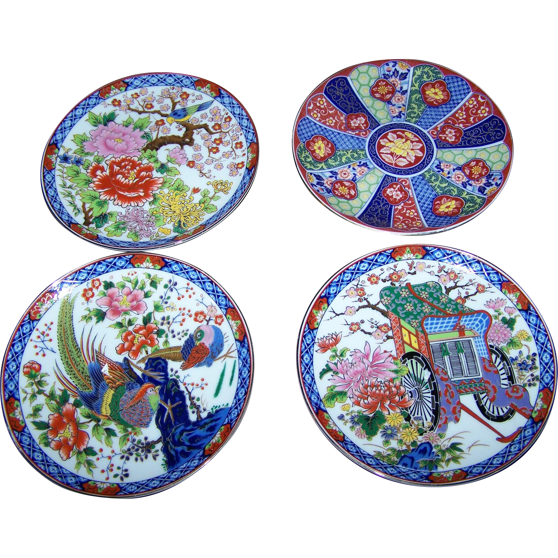 4 Imari Style Small Decorative Home Decor Wall Art Ceramic