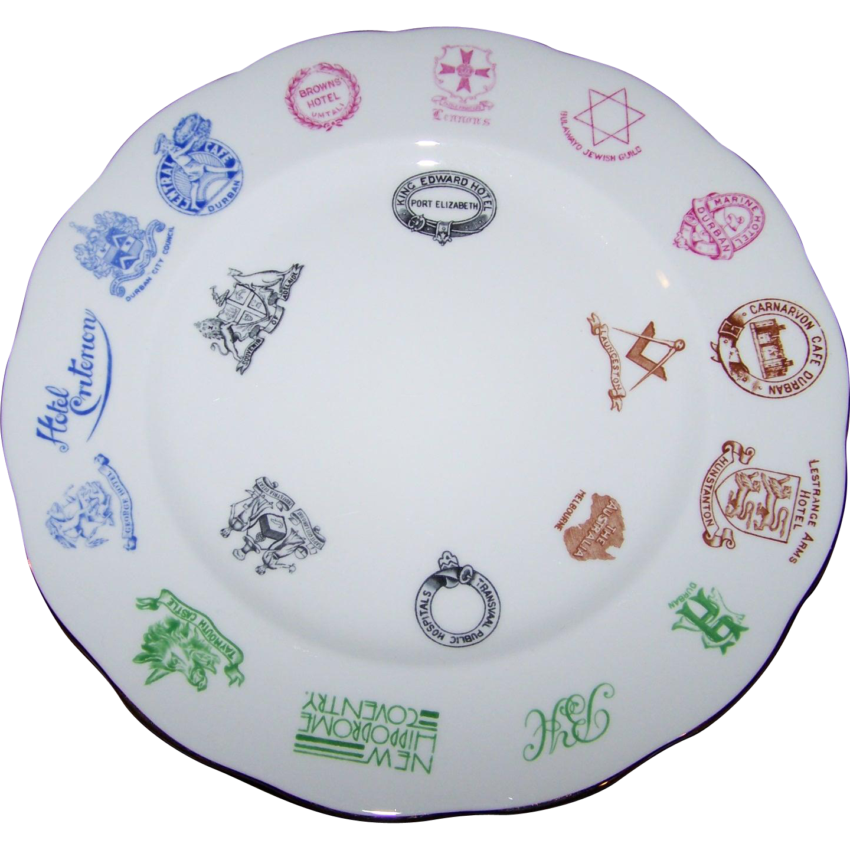 Rare Royal Standard Bone China England  Plate Featuring  Hotels Cafes Castles SAPIT Qui LABORAT Industria Ditat