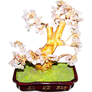 A Beautiful  Sakura Rose Quartz Gemstone & Copper Asian Figural Bonsai  Tree  Home Decor