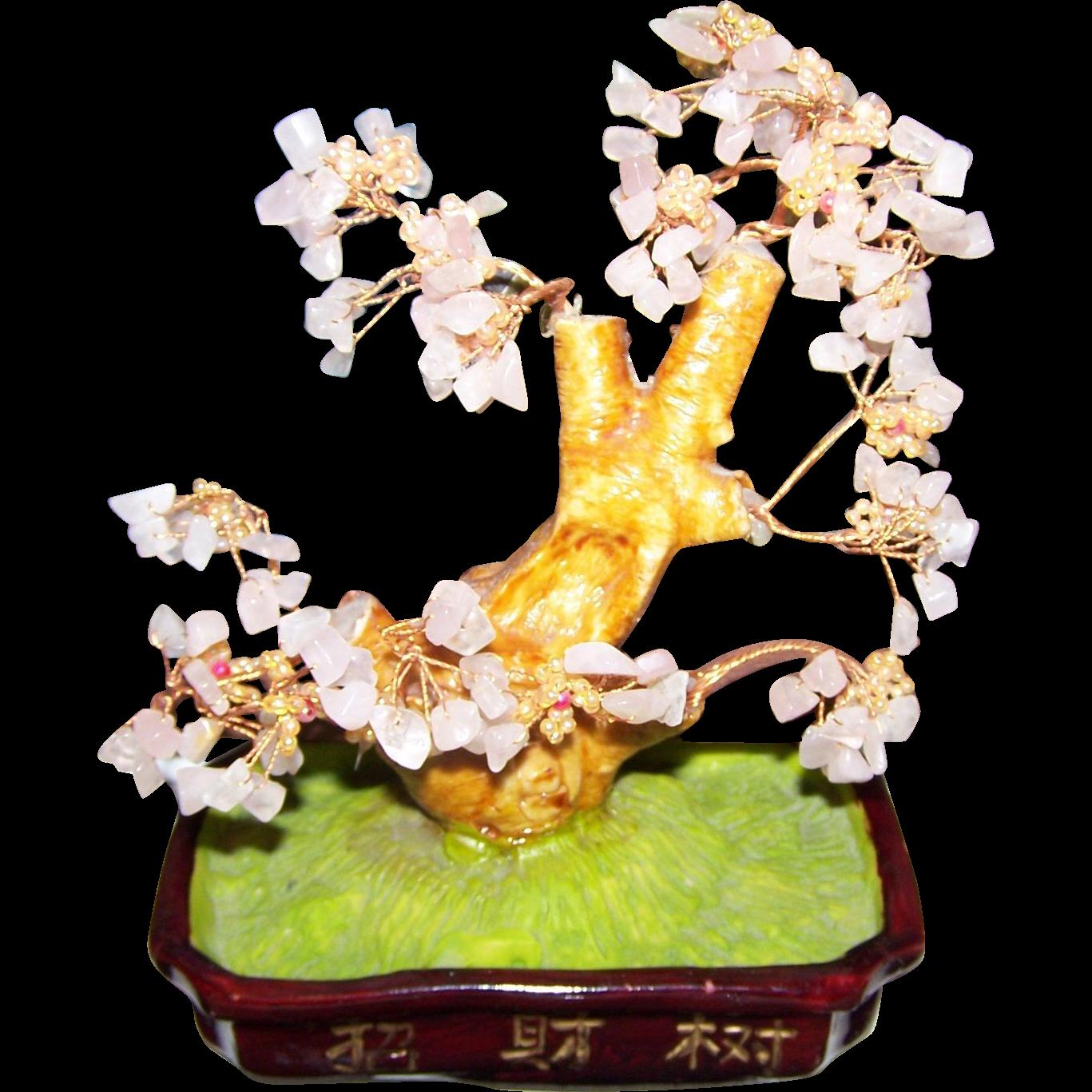 A Beautiful  Sakura Rose Quartz Gemstone & Copper Asian Figural Bonsai  Tree  Home Decor