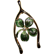 Vintage Designer Signed Gerrys  Four Leaf Clover Wishbone Faux pearl  Brooch Pin