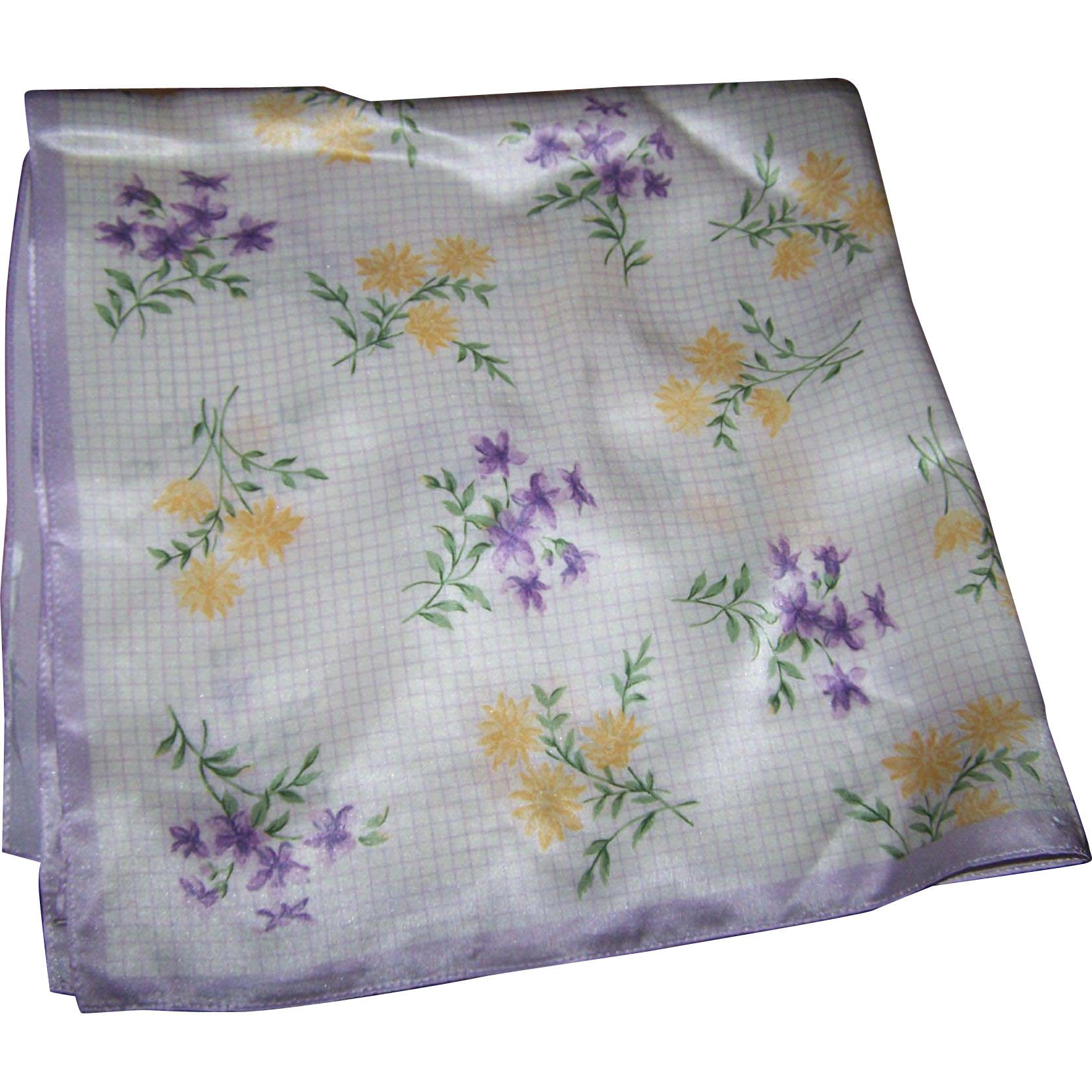 Delicate Small Pretty Ladies Silk Fashion Scarf Flower Pattern