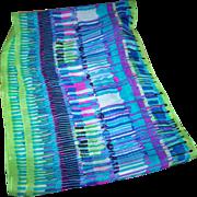 Lovely Long Rectangular Sheer Crepe Silk Designer Signed Echo Abstract ART Scarf
