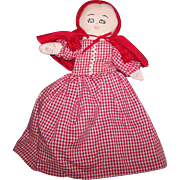 Sweet Gently USed Vintage  3 in One Topsy Turvy Doll Red Riding Hood Gramda and Wolf