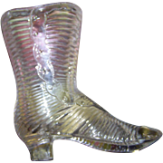 Sweet Little Pressed EAPG Clear Glass Novelty  Boot Lovely Embossed with lovely Details