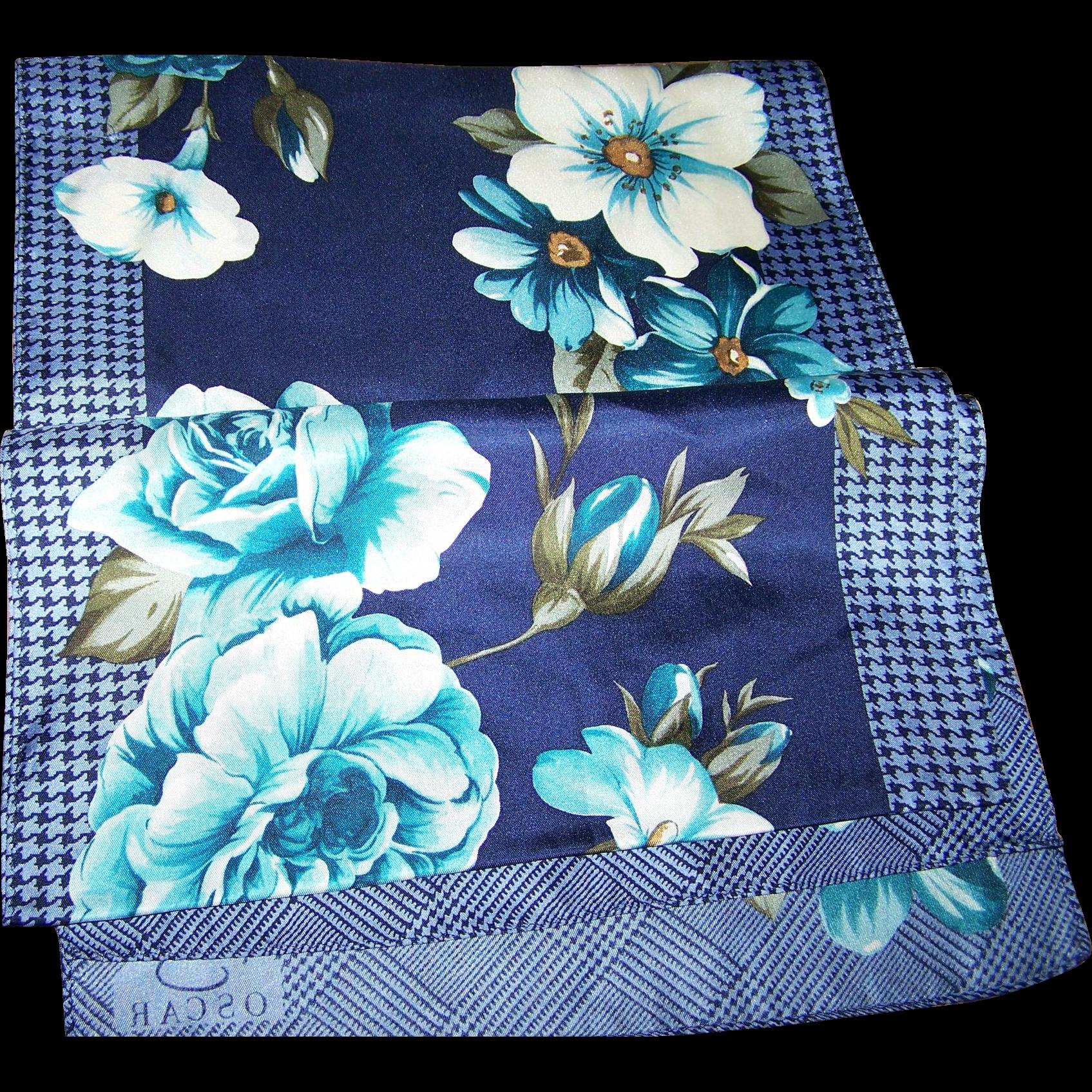 Pretty Designer Signed Oscar Silk Floral Pattern Scarf Long Rectangular Wearable ART