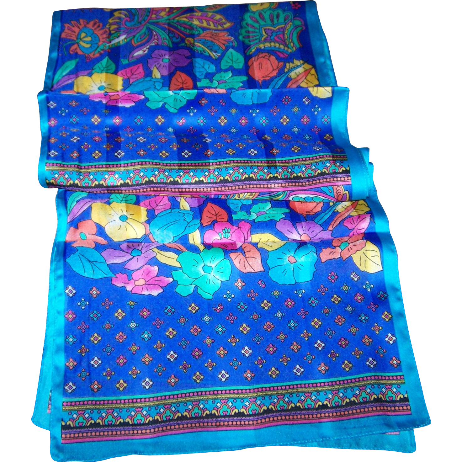 A Beautiful Long Rectangular Mixed Flower Floral Pattern Ladies Fashion Scarf
