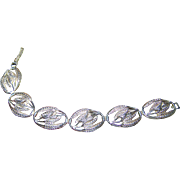 A Lovely Vintage  Lite Weight Sterling Silver Leaf Themed  Link Style Bracelet