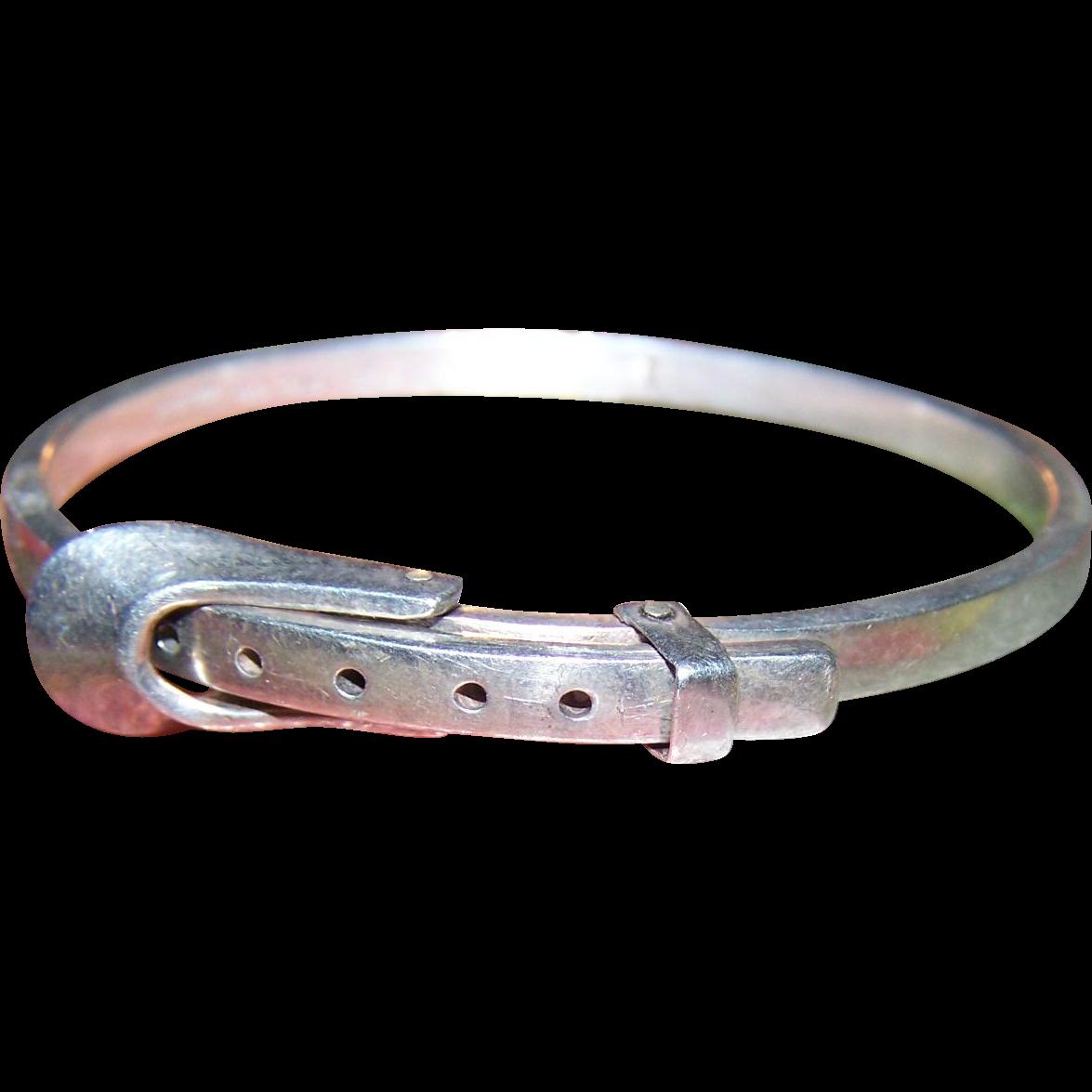 A Vintage  Sterling Silver 925  Belt Buckle Hinged Bangle Bracelet Hecho En Mexico TR-68 925