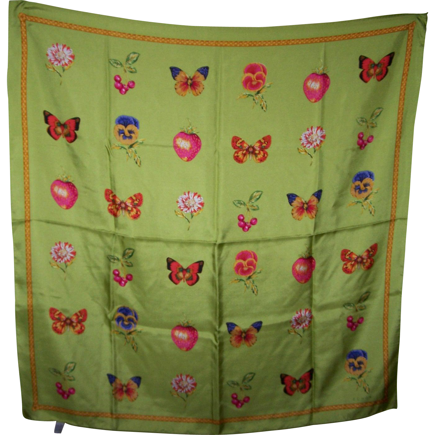 Lovely Large Silk Fashion Scarf Designer Signed Echo Butterfly Flower Fruit Theme