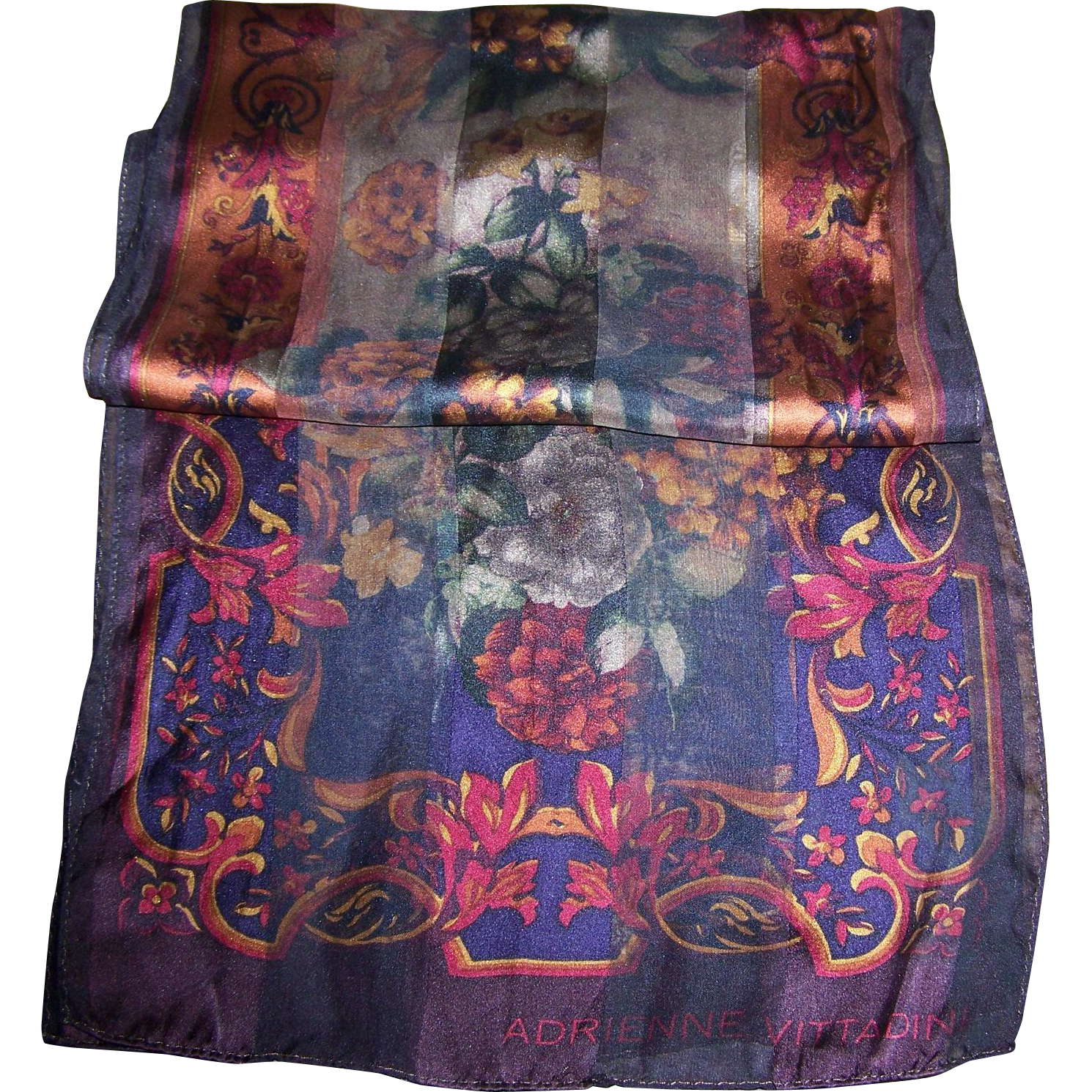 Lovely Long Rectangular Designer Signed Adrienne Vitadini Floral Scarf Fall Colors Sheer Panels
