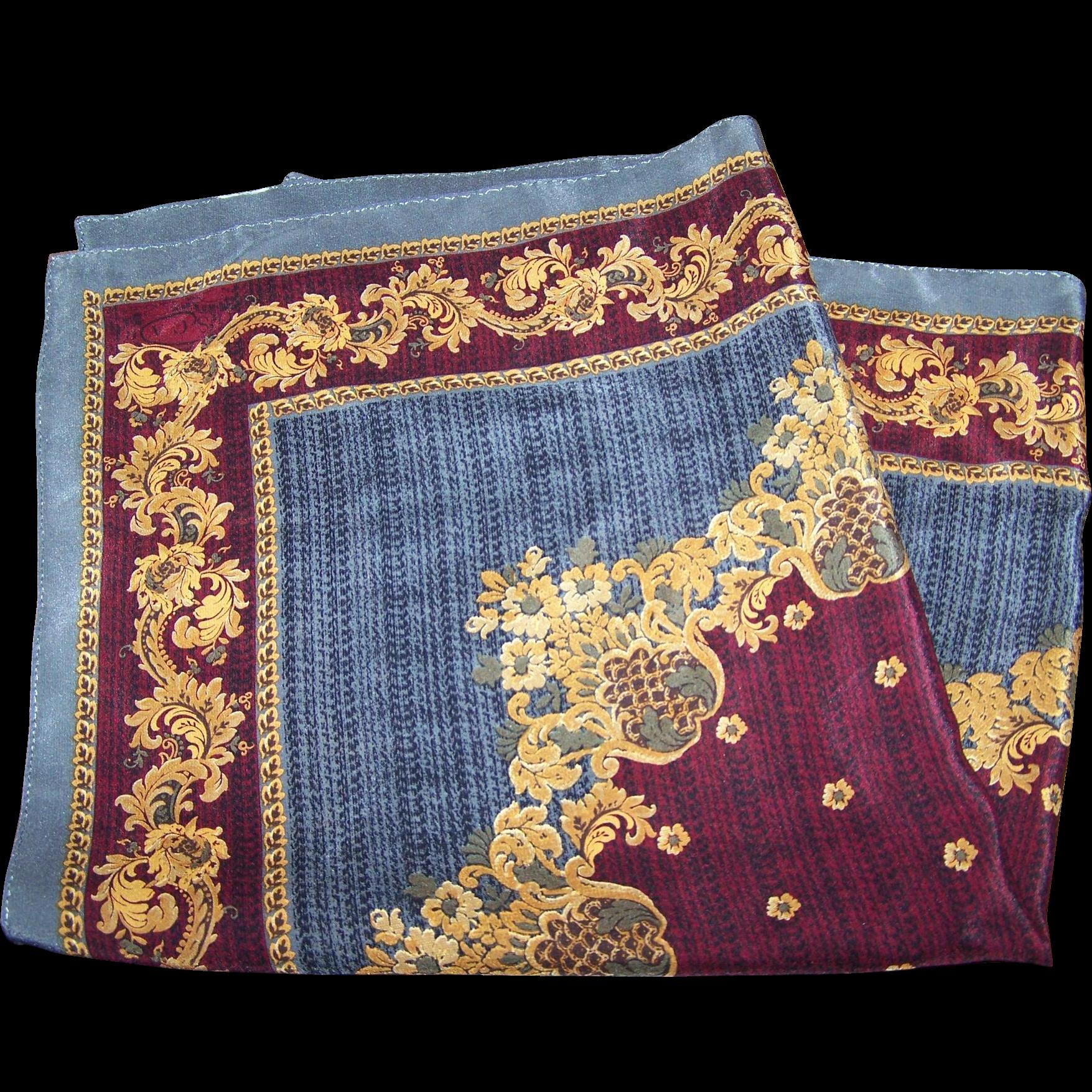 Beautiful Quality Small Designer OSCAR Silk Scarf or Handkerchief