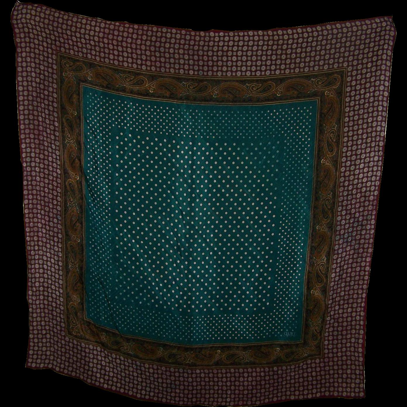 Decorative  Op Art Designer Signed Silk Scarf Club 7 Echo Polka Dots Paisley Geometric Print