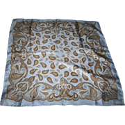 Paisley Print Designer Signed Yves Saint Laurent Silk Handkerchief Pocket Square