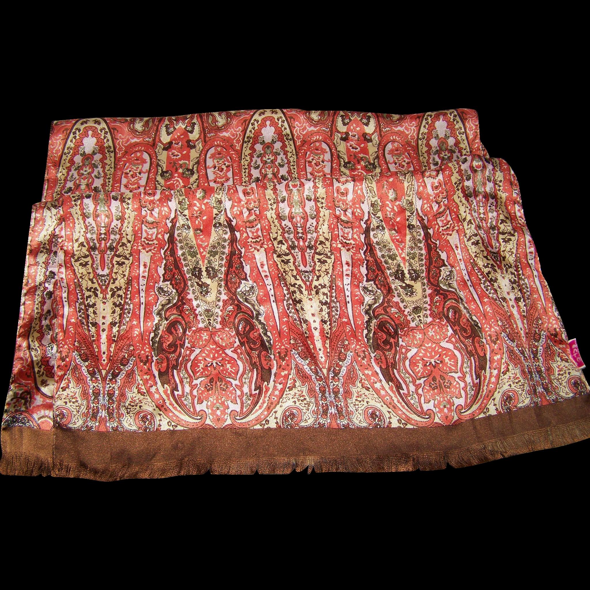 Lovely Long Rectangular Poly Silk Blend Designer ECHO Paisley Print Fringed Scarf