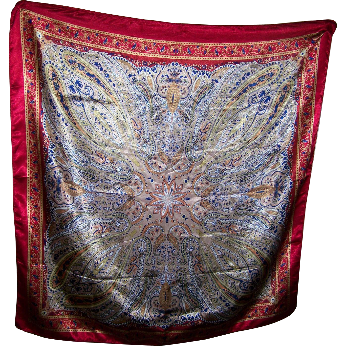 A Pretty Paisley Pattern Ladies Fashion Scarf with Bright Red Boarder