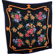 Beautiful Designer Signed J. G . Hook Silk Scarf Flower Theme Wearable ART