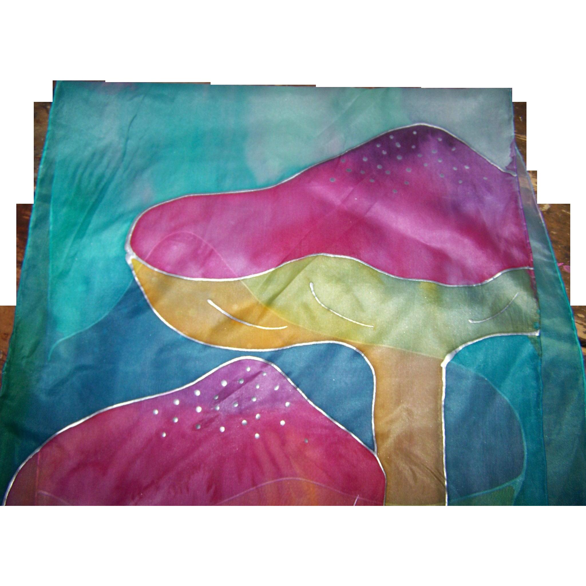 Lovely Delicate Long Rectangular Hand Painted Silk Scarf Mushroom Theme