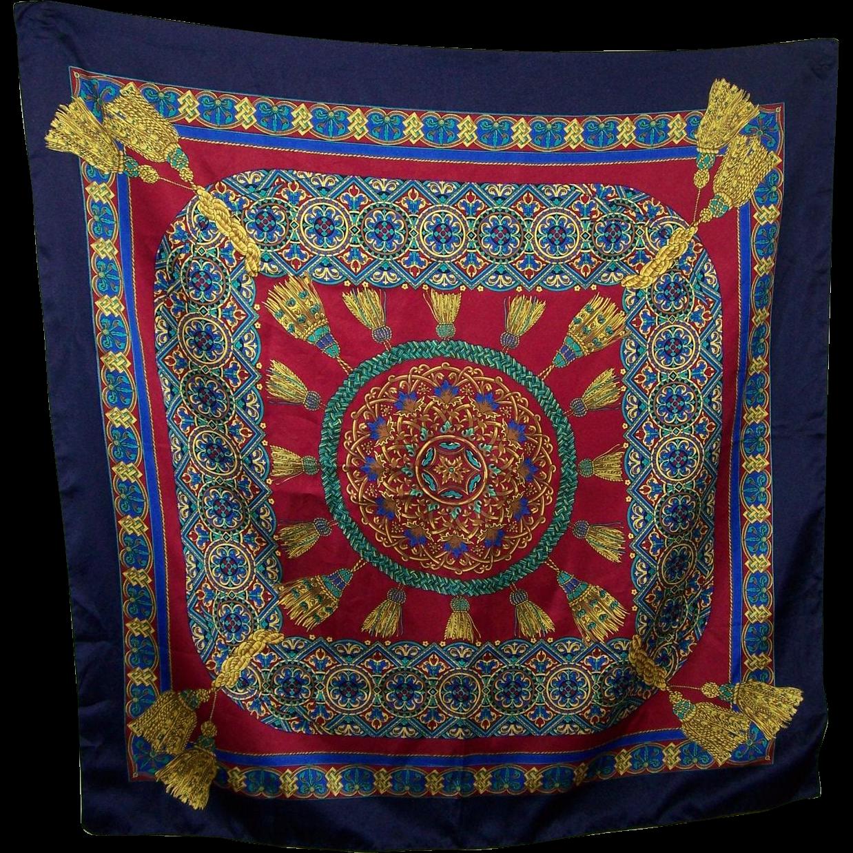 Lovely Large Richly  Decorative Tassel Print Berkshire Ladies Fashion Scarf Gently Used