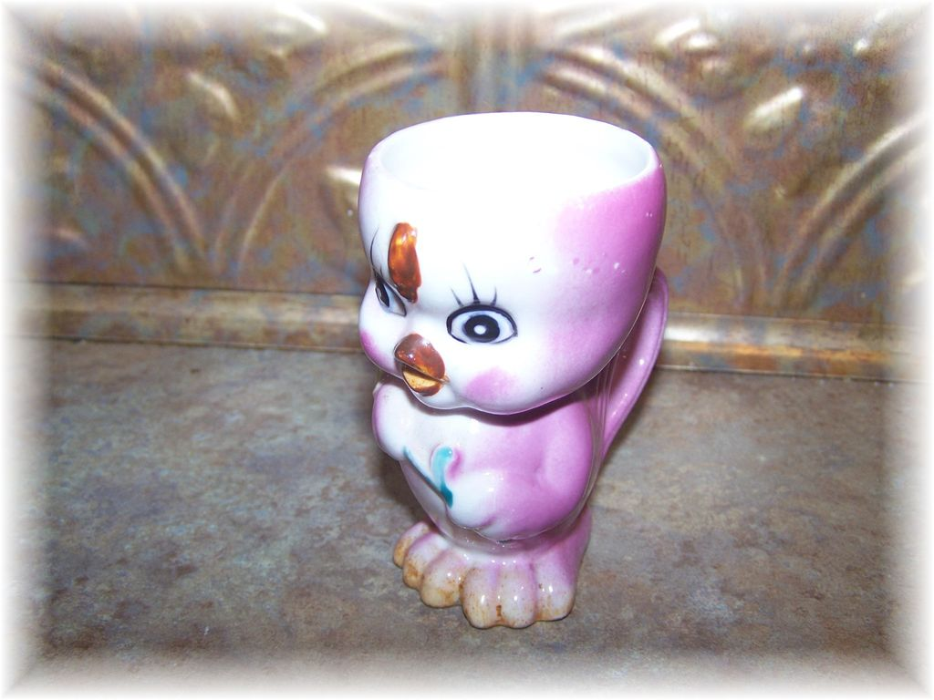 Sweet Little Hand Painted Chick Egg Cup With Handle