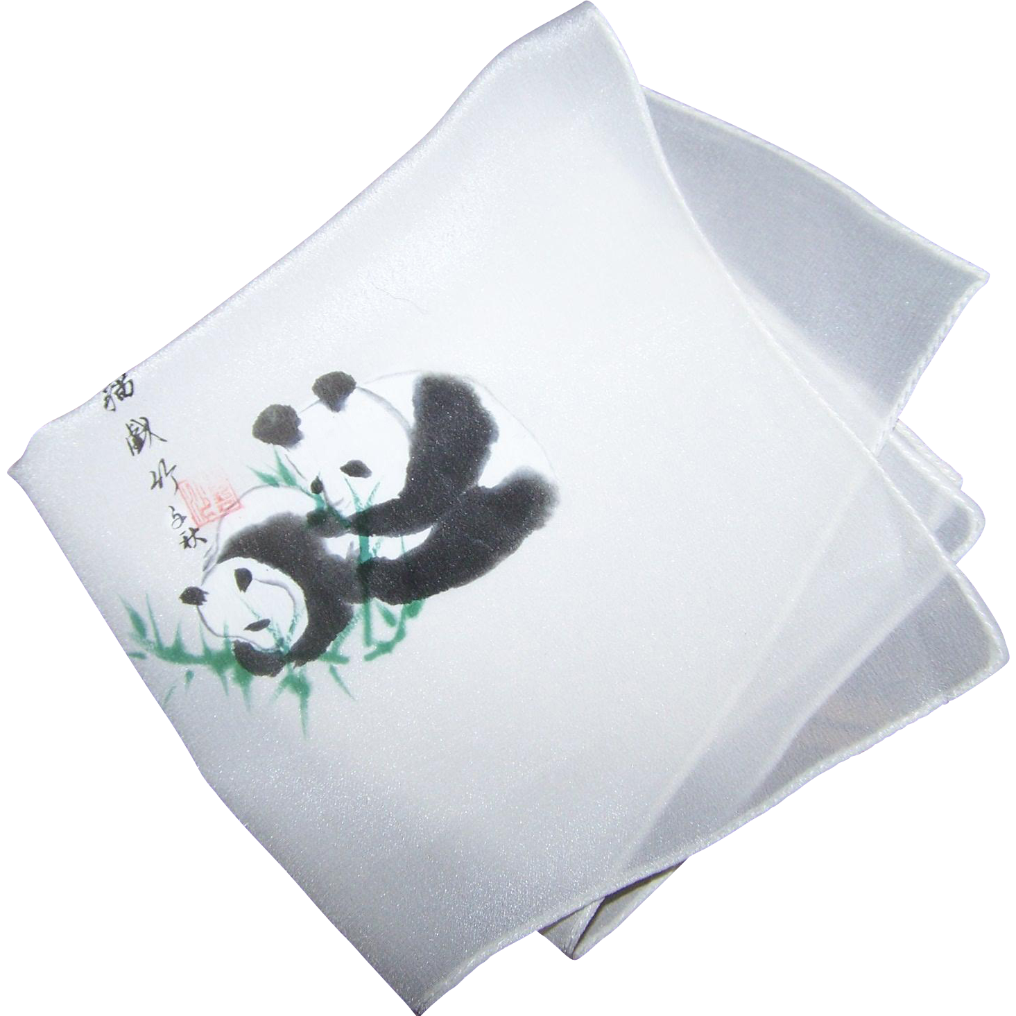 Sweet Little Pure Silk Hand Painted Handkerchief Asian Characters & Panda Bears