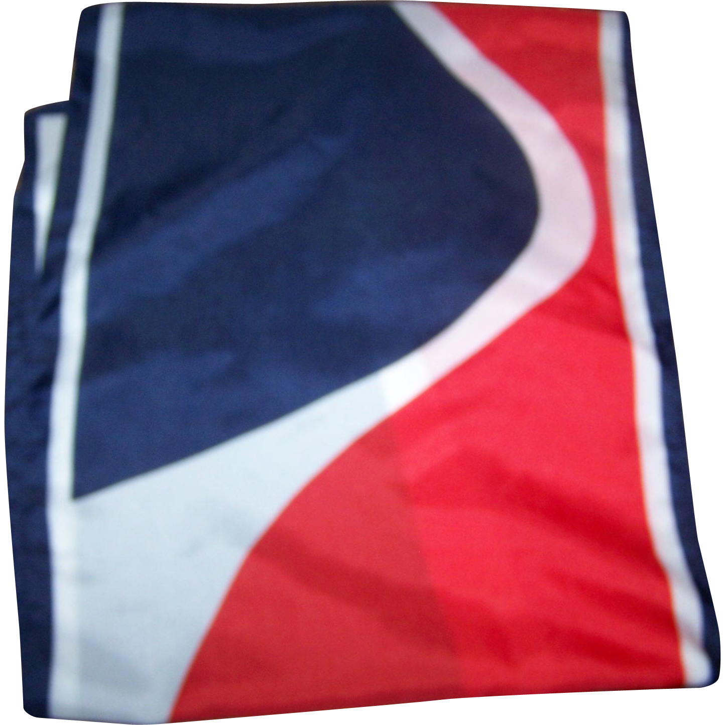 Long Vintage Fashion Scarf Designer Signed KARINA Patriotic Red White Blue