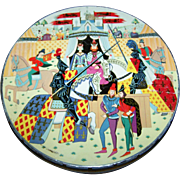Peek Frean Biscuit Tin Litho Advertising Tin Container Medieval Scene Horse Knight  King Queen