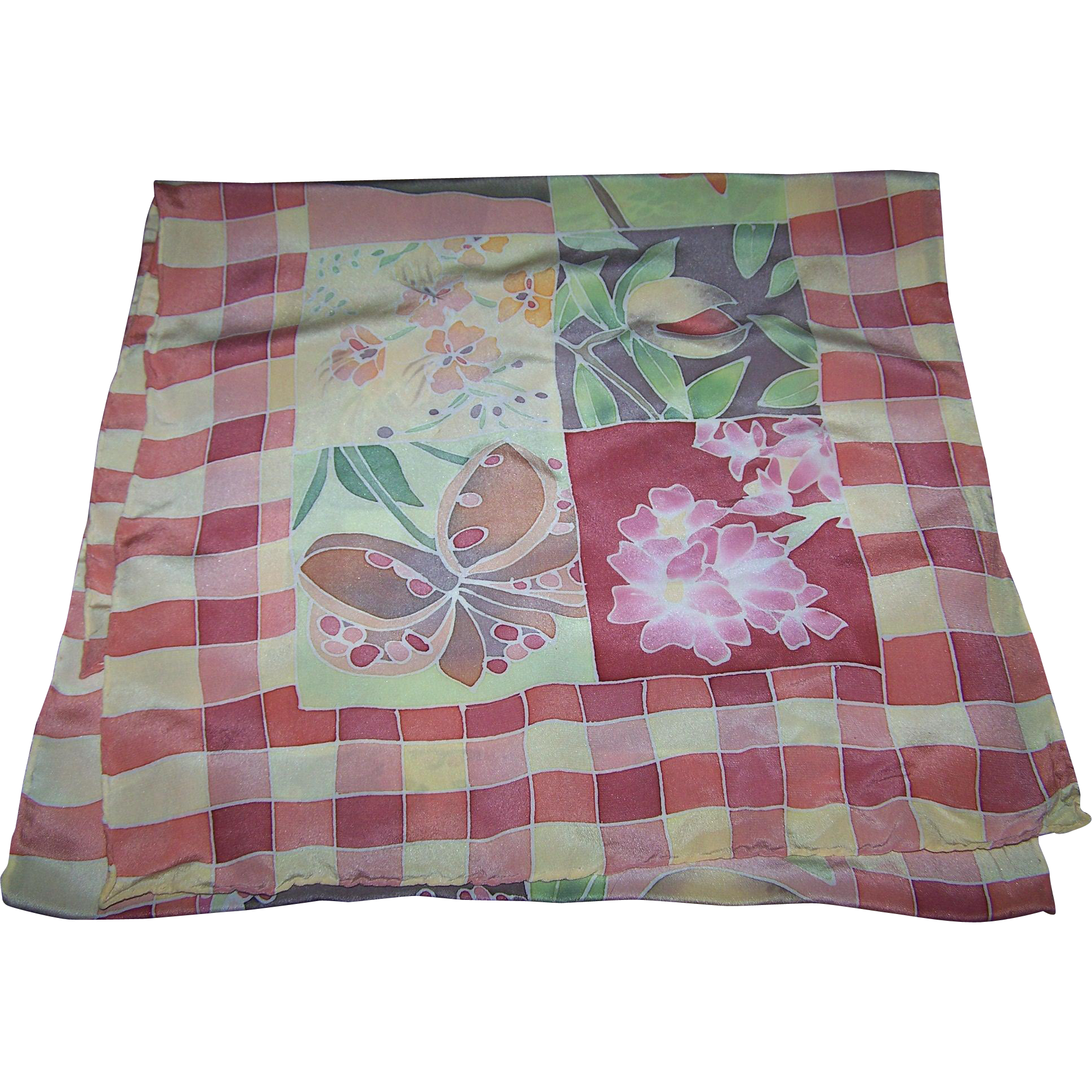 A Wonderful  Gently Used Long Rectangular Silk Scar Floral  Seed Pod Theme Water Color Style
