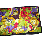 A Fun Colorful Cheerful Silk Print Jungle Animals Themed Scarf Unbranded Wearable ART