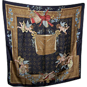 Vintage Silk Scarf   Les pieces de clavessin de Monsieur de Chambonnieres Republic Made in Italy Cherub Putti