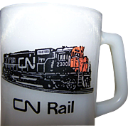 Federal Glass Advertising Milk Glass Mug CN RAIL Train Collectible