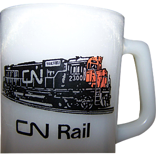 Federal Glass Advertising Milk Glass Mug CN RAIL Train Collectible