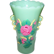 Pretty Jadite Jadeite Green Glass Deco Era Vase  Hand Painted Fire King