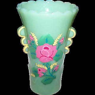 Pretty Jadite Jadeite Green Glass Deco Era Vase  Hand Painted Fire King