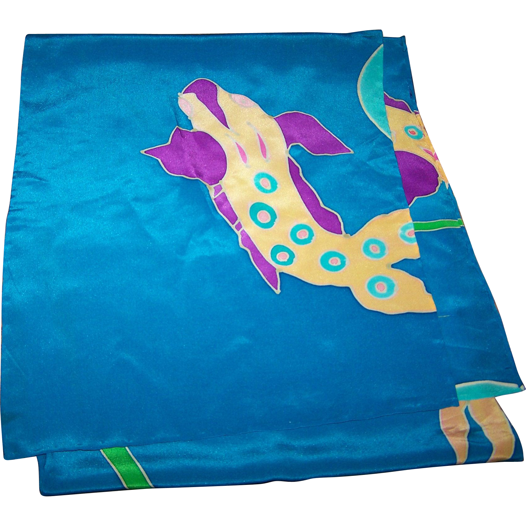 A Beautiful Long Rectangular Blue Silk Scarf with Fish Theme Wearable ART