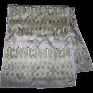 Lovely Delicate Long  Sheer Silk Scarf  Designer Signed HONEY