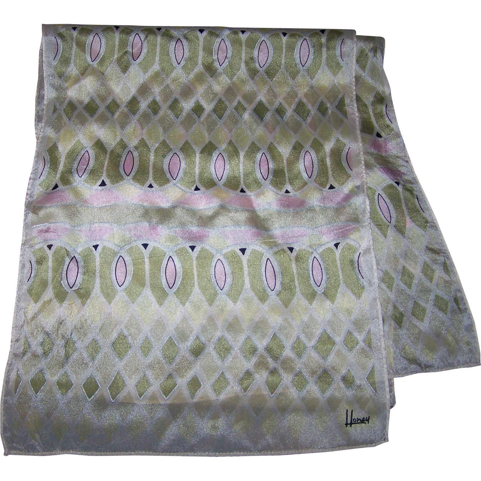 Lovely Delicate Long  Sheer Silk Scarf  Designer Signed HONEY