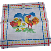 2 Sweet Little Childrens Handkerchiefs Rooster Chicken Chicks and Bunny Rabbits
