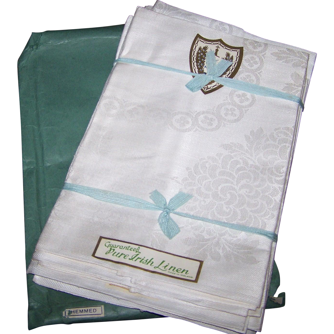 Old Hotel Stock  Pure Damask Irish Linen Napkins Made in Northern Ireland