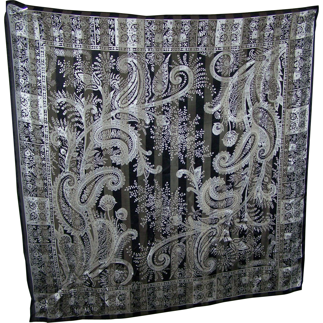 Pre-owned Black & White Decorative Print Silk Scarf by TALBOTS