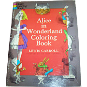 Soft Cover Paper Back  Dover Coloring Book Alice in Wonderland 1972