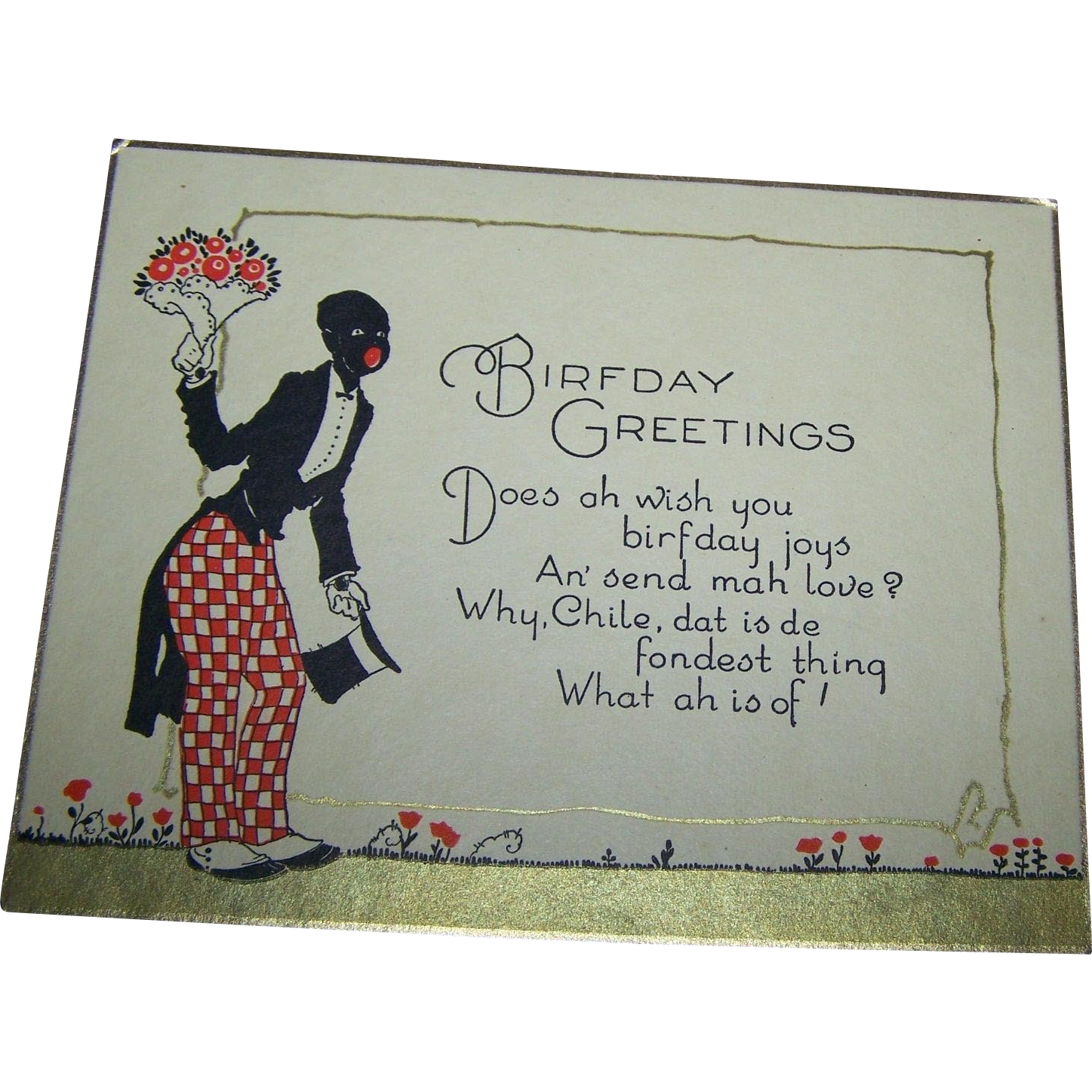 Charming Vintage Black Americana Memorabilia Style Old Birthday Greeting Card