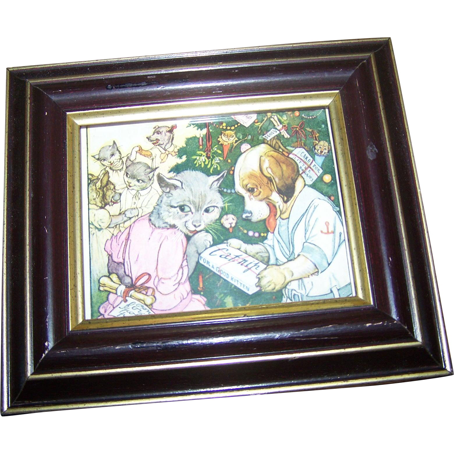 Charming  Pussy Cat Puppy Dog Framed Print Dec 1924 Delineator Bow-Meow Tree