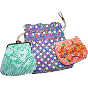 A Lovely Trio of Plastic Beaded Material Bags Change Purse Fashion Accessory FUN
