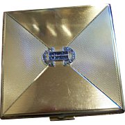 Lovely Quality Vintage Ladies Powder Compact Deco Style Marcasite Blue Sapphire Rhinestones GERMANY - Red Tag Sale Item