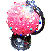 Charming Little Rotating Pin Cushion Pincushion with Measuring Tape and Thimble Globe Style