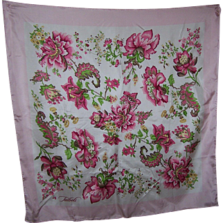 What A Beautiful Silk Floral Print Scarf Signed Talbots Wearable ART