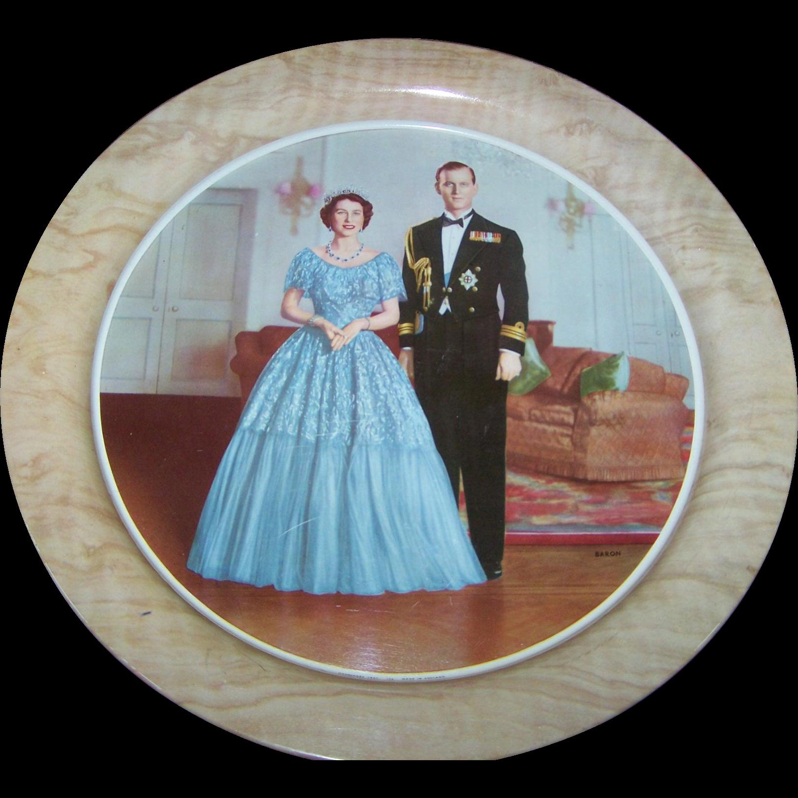 "Handiware 13""  Tin Litho Tray #114 Baron 1952 Portrait Queen Elizabeth & Prince Philip"