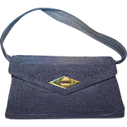 Dressy Black Corde Handbag By Gold Seal Accessories Montreal Canada