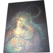 Vintage Print to Board Artist Susan Seddon Boulet 1989 Fantsy Moon Lady Chest